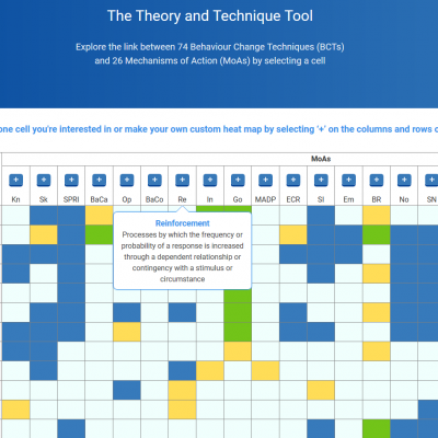Two new Online Tools for investigating Behaviour Change: The Theory & Techniques Tool and the Behaviour Change Technique Study Repository